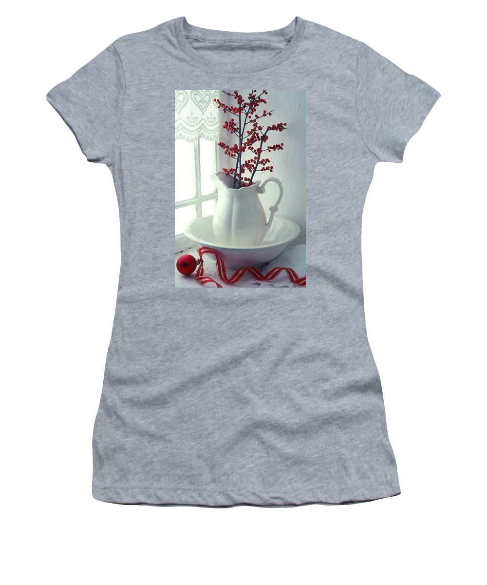 Christmas Women's T-Shirt featuring the photograph Pitcher With Red Berries by Garry Gay
