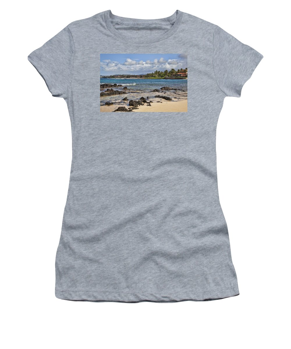 Poipu Women's T-Shirt featuring the photograph Poipu Shores by Kelley King