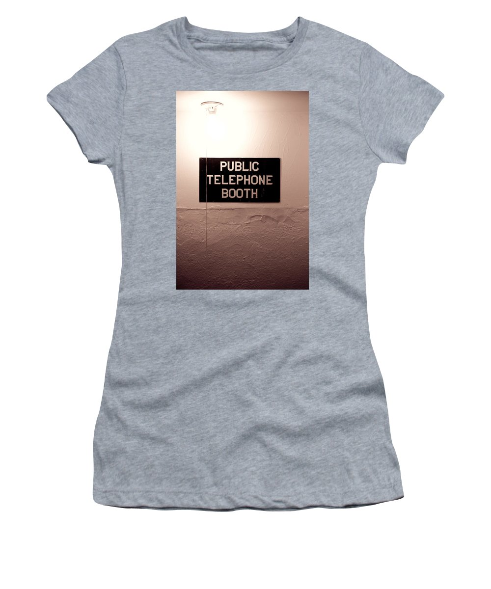 Telephone Women's T-Shirt (Athletic Fit) featuring the photograph Public Phone Booth by Lauri Novak