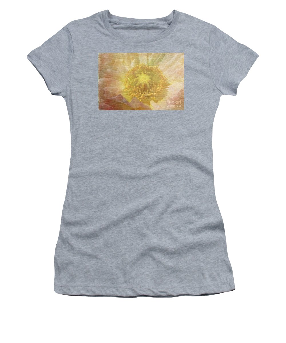 Flower Women's T-Shirt (Athletic Fit) featuring the photograph Pure Delicate Center by Deborah Benoit