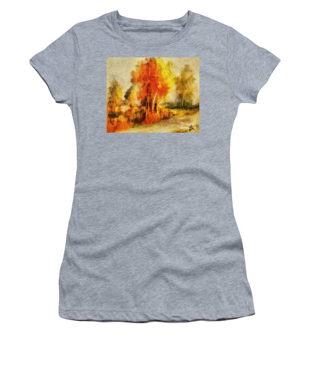 Tree Women's T-Shirt featuring the painting Purple Smoke Tree by Dragica Micki Fortuna