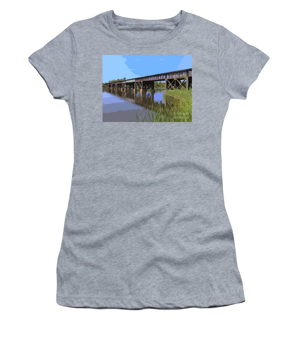 Bridge Women's T-Shirt (Athletic Fit) featuring the painting Railroad Bridge by Allan Hughes