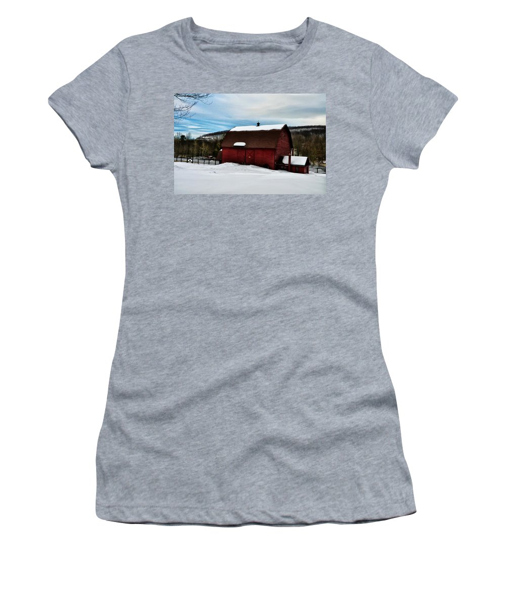 Red Barn In The Snow Women's T-Shirt (Athletic Fit) featuring the photograph Red Barn In The Snow by Bill Cannon