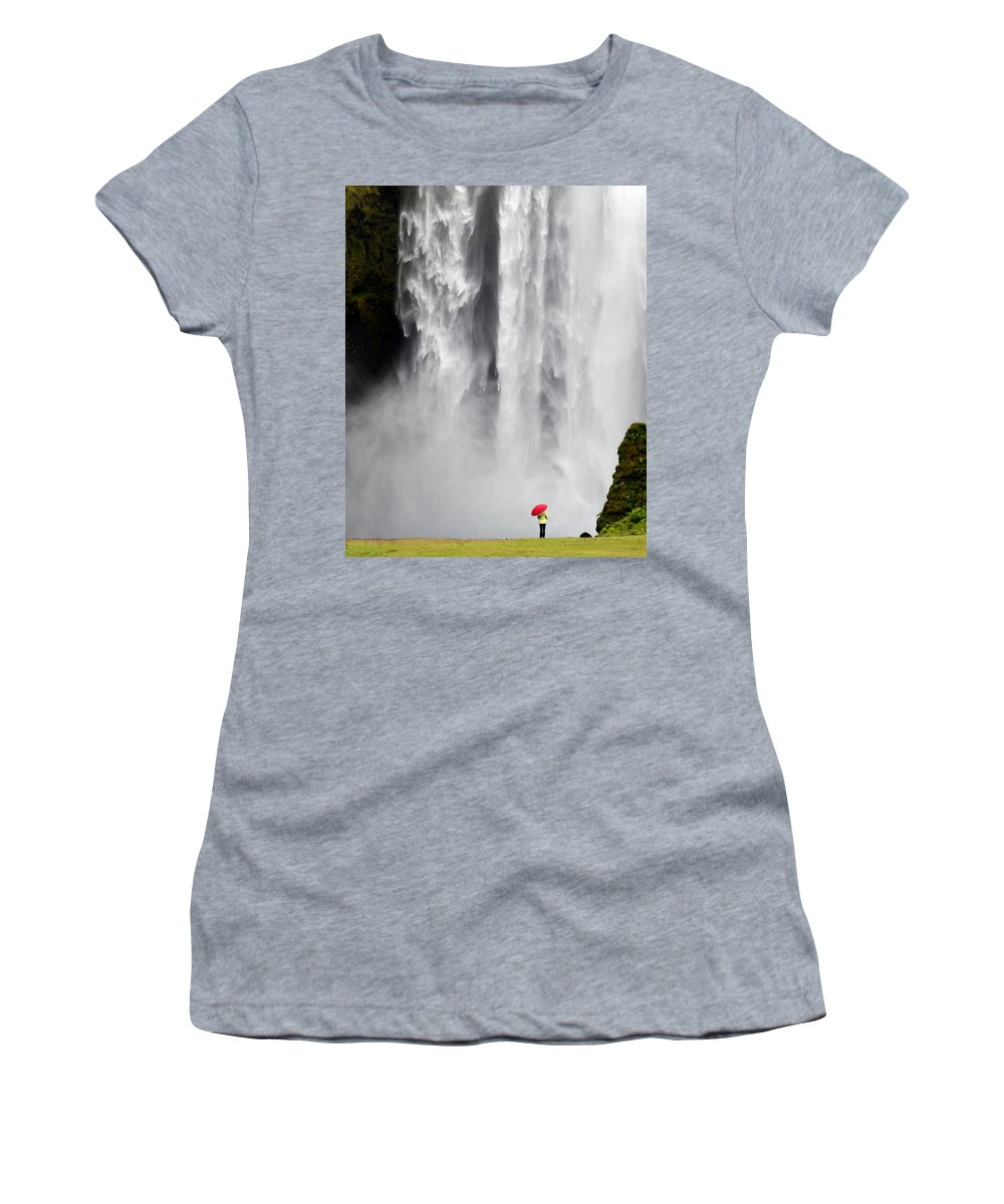 Landscape Women's T-Shirt (Athletic Fit) featuring the photograph Red Umbrella At Skogafoss by Kenneth Blye
