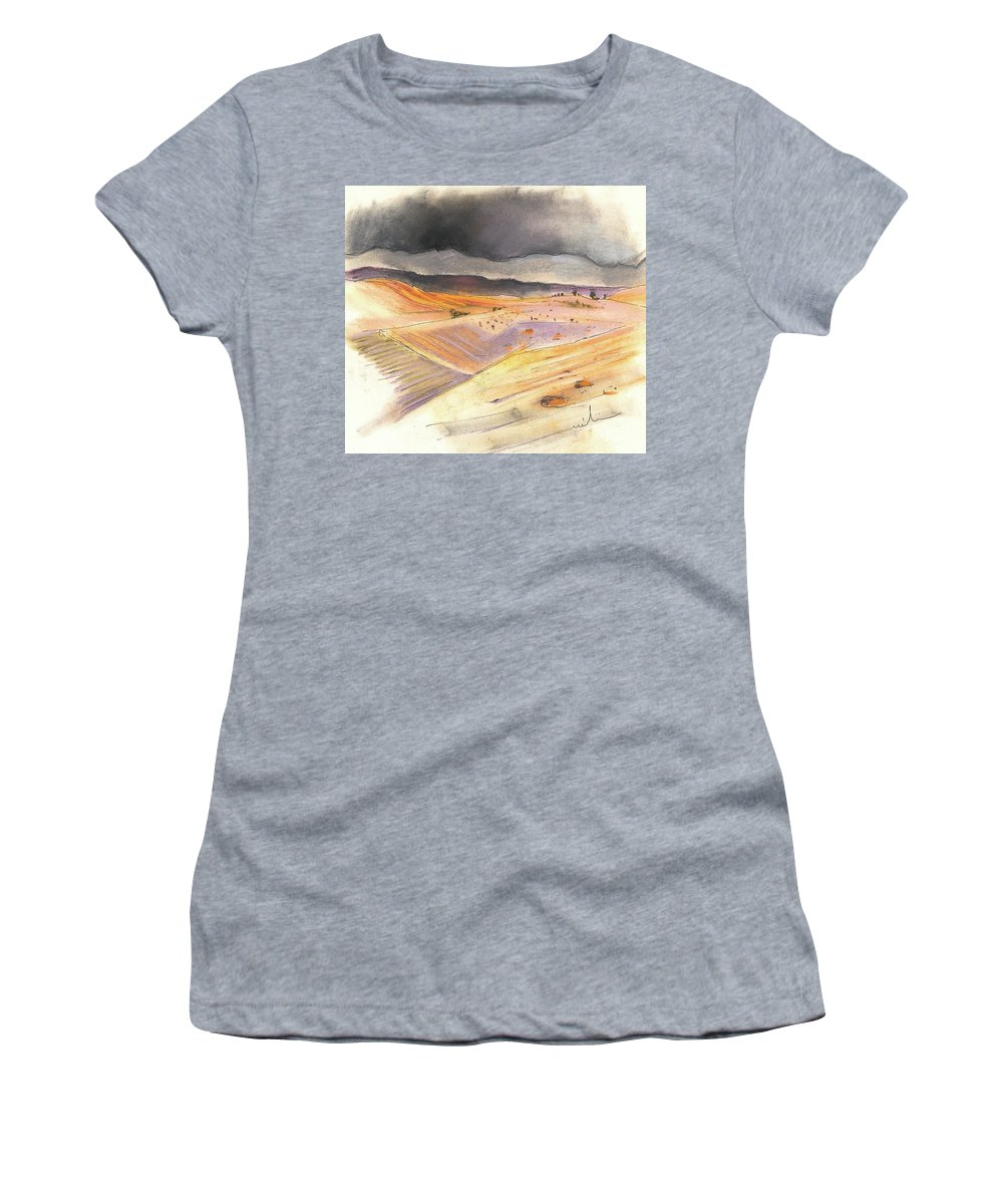 Spain Women's T-Shirt (Athletic Fit) featuring the painting Ribera Del Duero In Spain 08 by Miki De Goodaboom