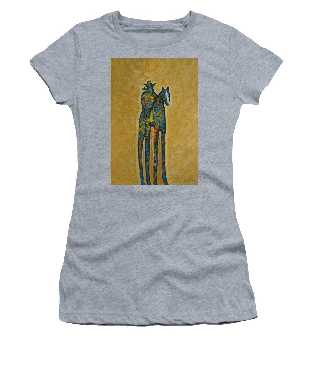 Contemporary Women's T-Shirt featuring the painting Rider One by Lance Headlee