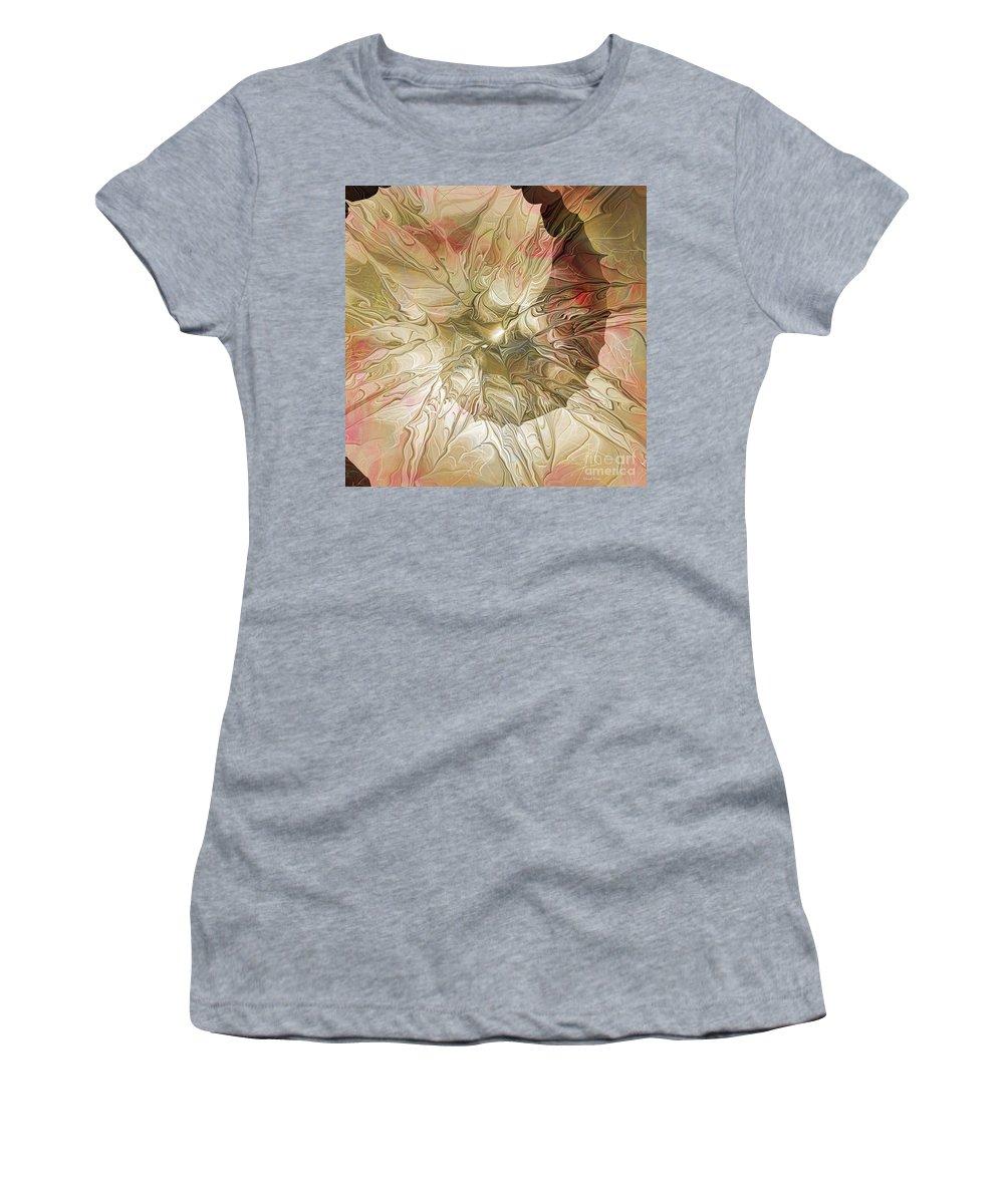 Abstract Women's T-Shirt featuring the digital art Rose Petal Highway by Deborah Benoit