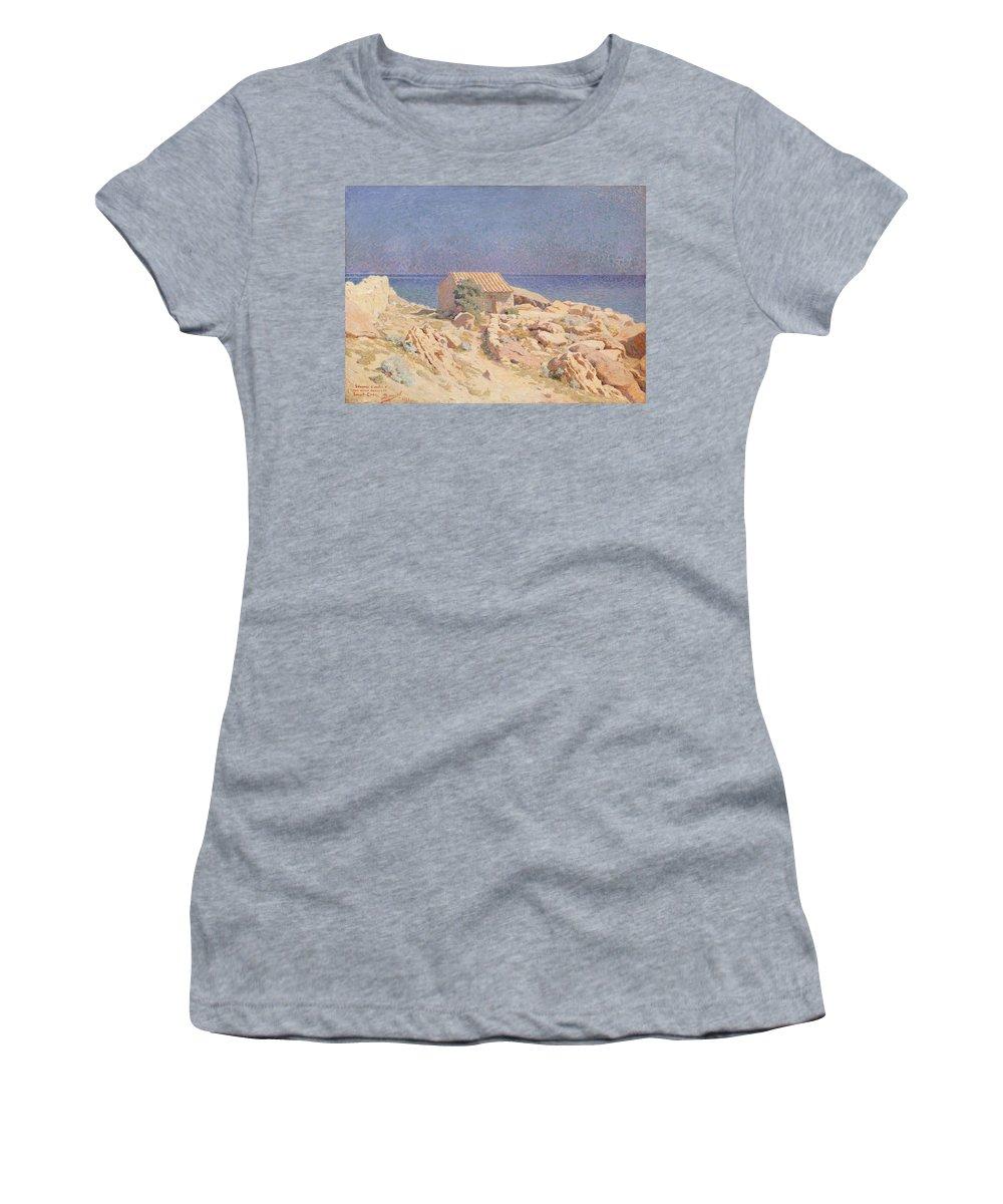 Rocks Women's T-Shirt featuring the painting Roussillon Landscape by Georges Daniel de Monfreid