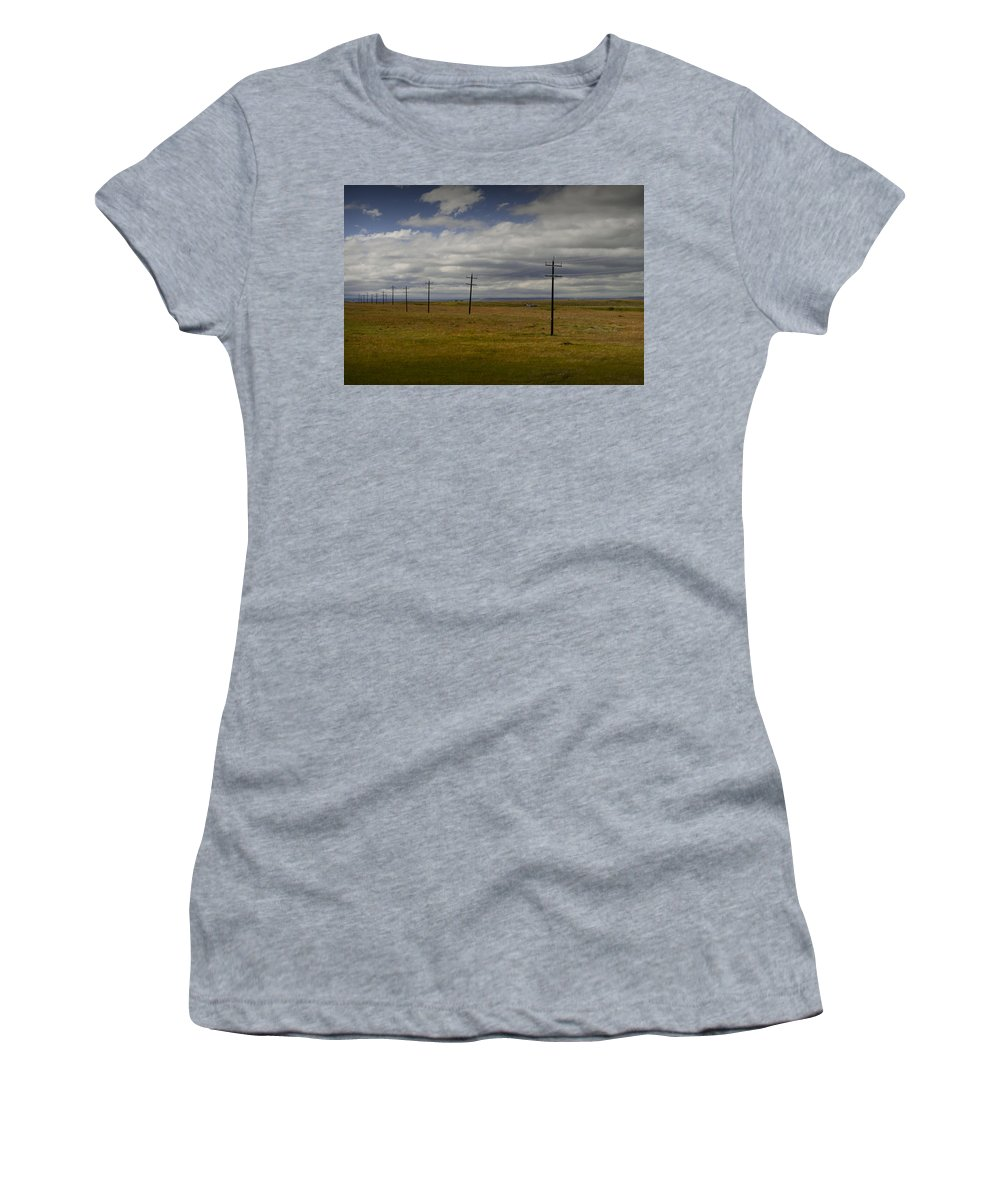Art Women's T-Shirt (Athletic Fit) featuring the photograph Row Of Utility Poles On The Prairie by Randall Nyhof