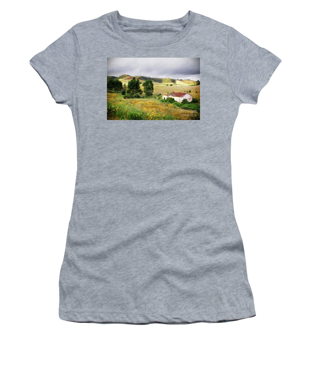 Calm Women's T-Shirt (Athletic Fit) featuring the photograph Ruin In Countryside by Carlos Caetano