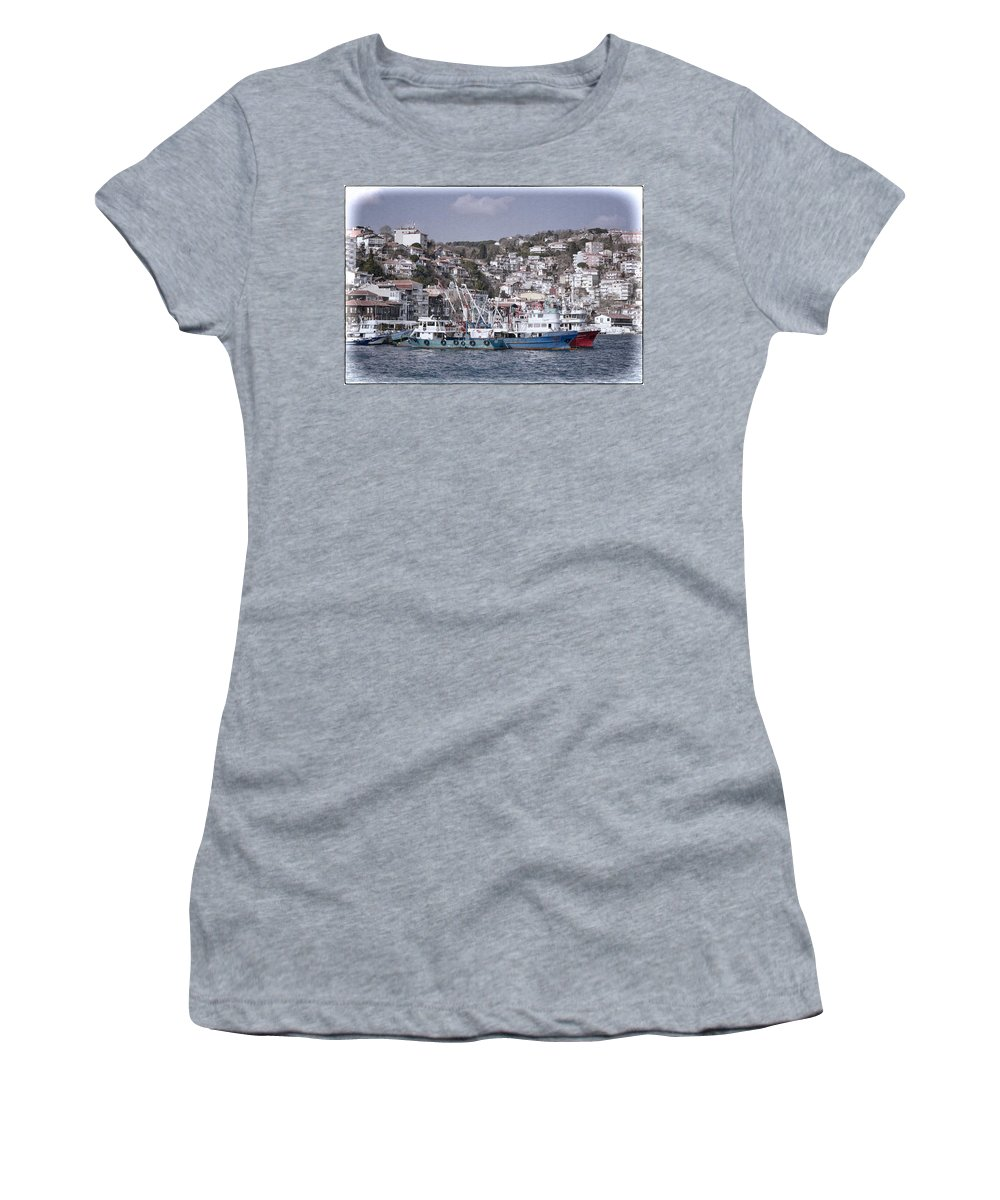 Istanbul Women's T-Shirt (Athletic Fit) featuring the photograph Rumeli Kavagi by Joan Carroll