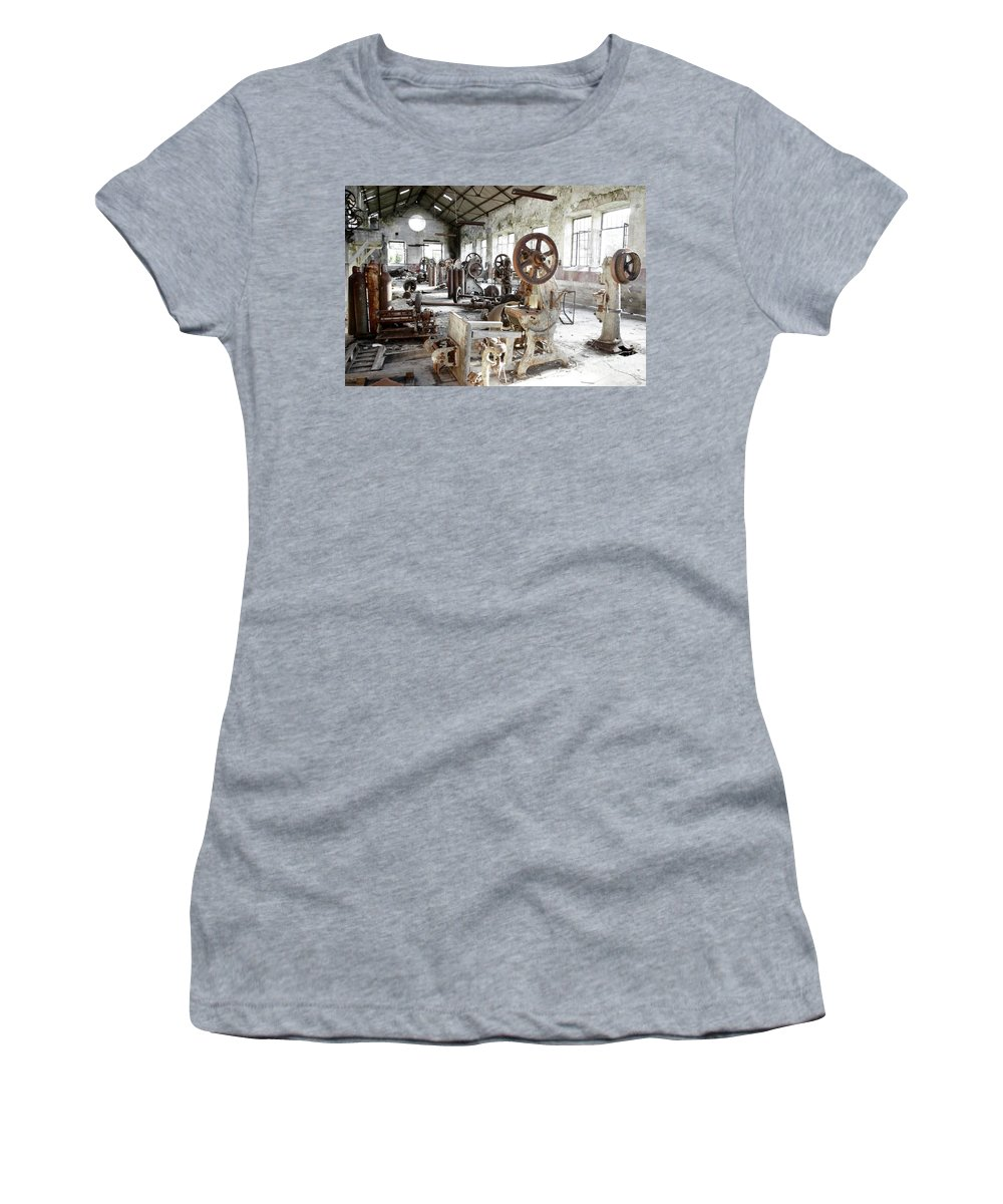 Abandoned Women's T-Shirt (Athletic Fit) featuring the photograph Rusty Machinery by Carlos Caetano