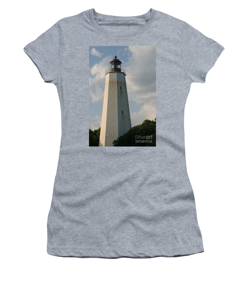 Sandy Hook Women's T-Shirt (Athletic Fit) featuring the photograph Sandy Hook Lighthouse 2 by Living Color Photography Lorraine Lynch