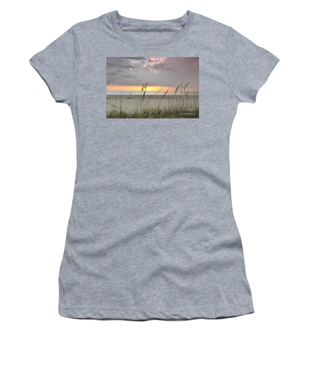 Boca Grande Women's T-Shirt featuring the photograph Sea Oats - Boca Grande by John Black