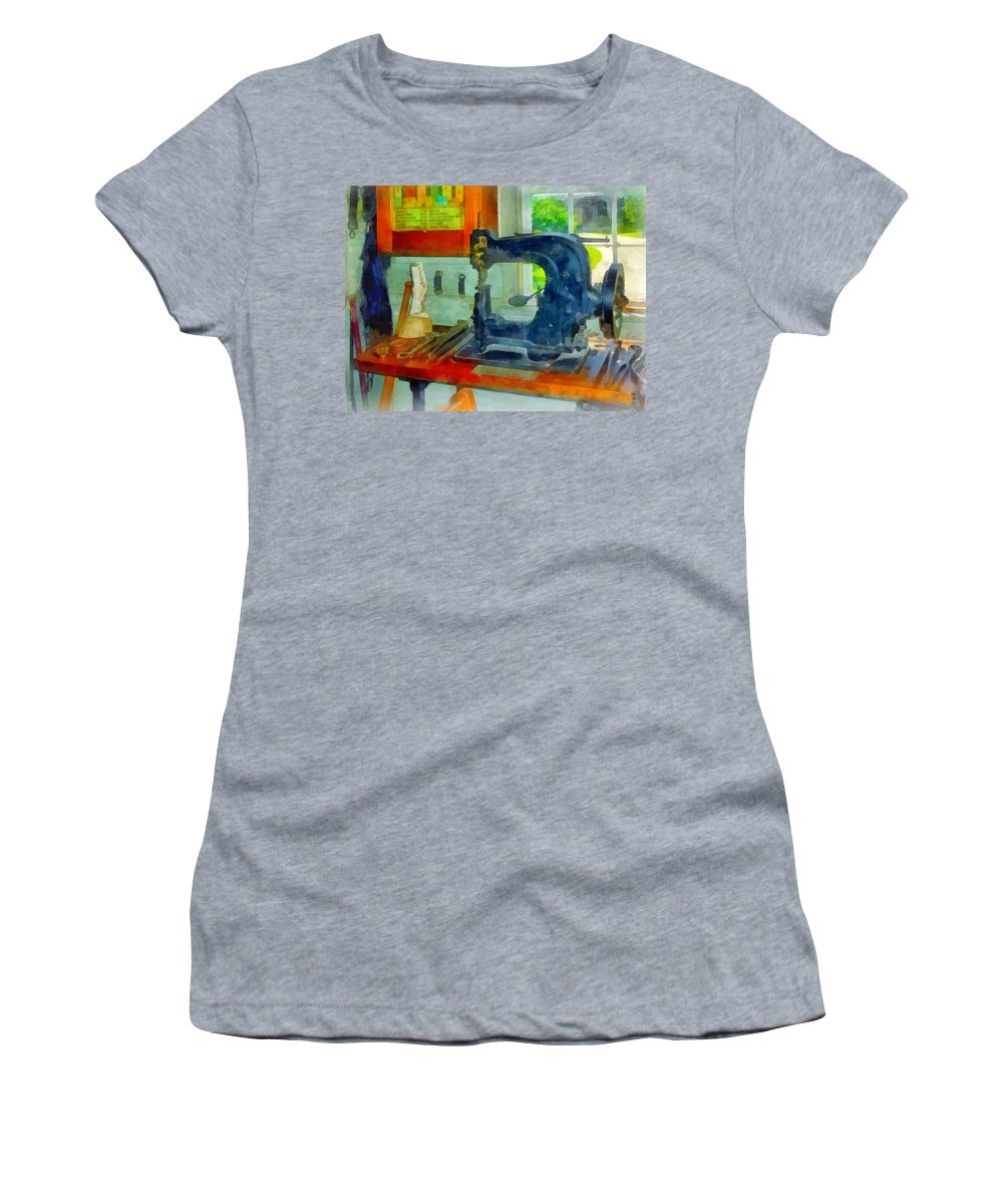 Sewing Machine Women's T-Shirt featuring the photograph Sewing Machine In Harness Room by Susan Savad