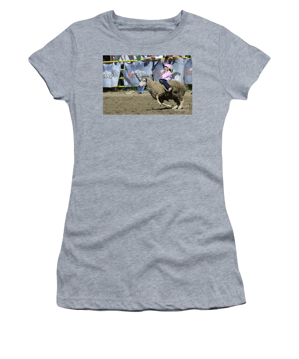 Rodeo Sheep Riding Women's T-Shirt (Athletic Fit) featuring the photograph Rodeo Sheep Riding by Bob Christopher