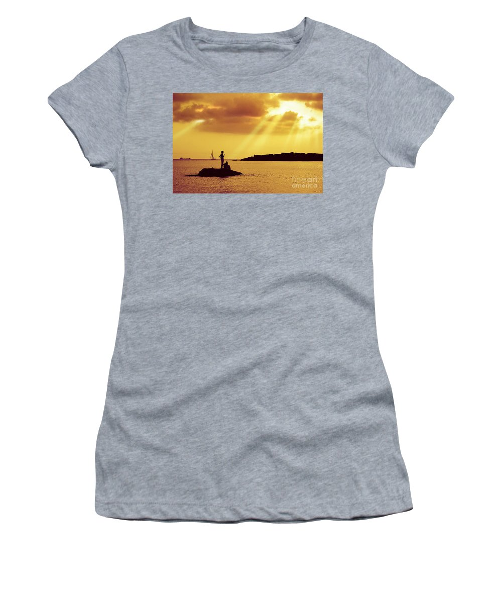 Beach Women's T-Shirt (Athletic Fit) featuring the photograph Silhouettes On The Beach by Carlos Caetano