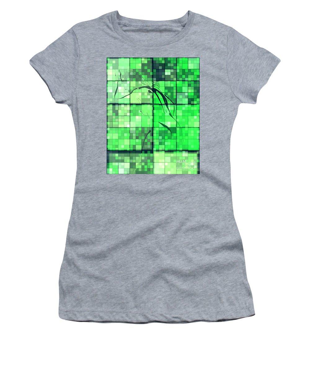 Collage Photographs Women's T-Shirt featuring the digital art Sinful Geometric Green by Mayhem Mediums