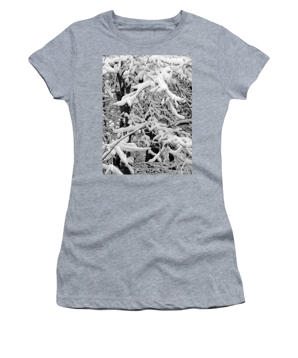 Snow Women's T-Shirt featuring the photograph Snow Trees by Sandi OReilly