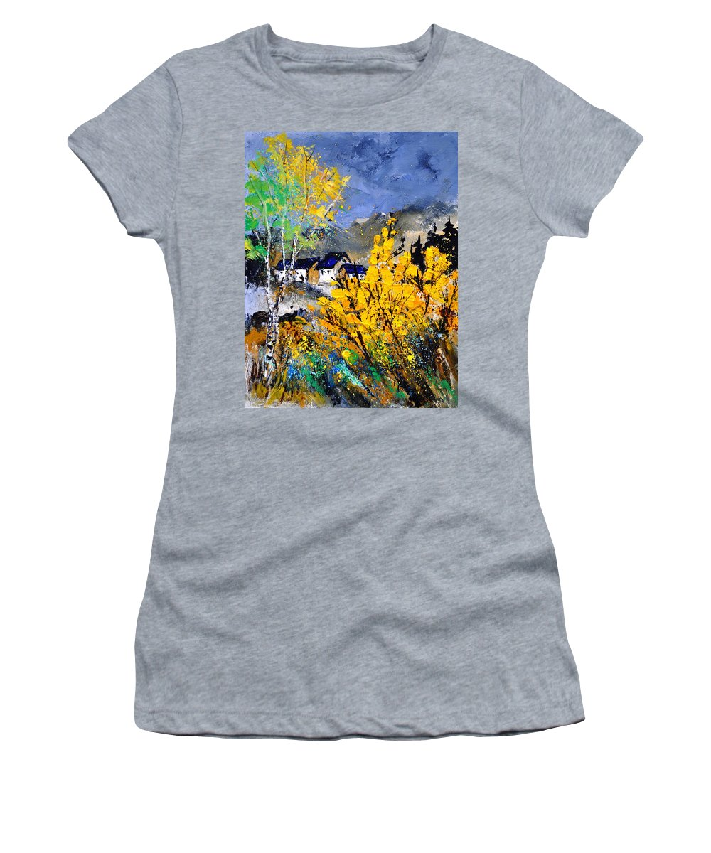 Landscape Women's T-Shirt (Athletic Fit) featuring the painting Spring 45214032 by Pol Ledent