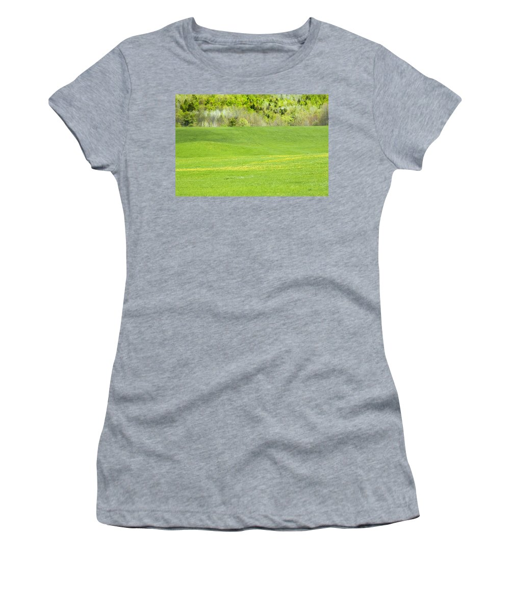 Hay Field Women's T-Shirt featuring the photograph Spring Farm Landscape In Maine by Keith Webber Jr