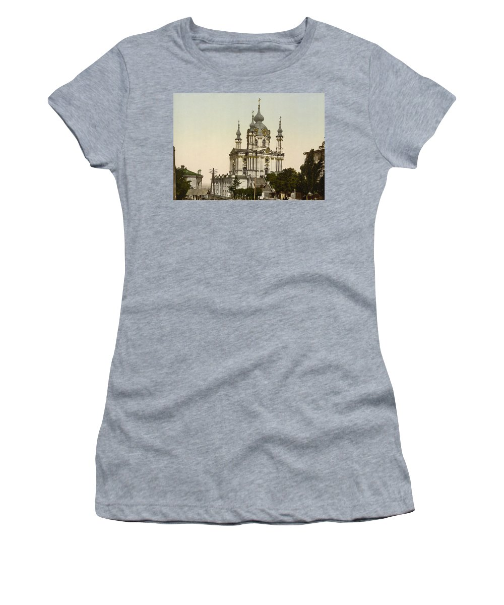 Андрiївська церква Women's T-Shirt featuring the photograph St Andrews Church In Kiev - Ukraine by International Images