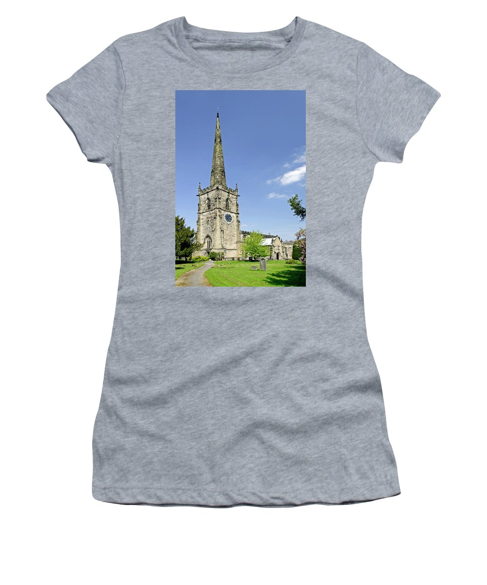 Derbyshire Women's T-Shirt (Athletic Fit) featuring the photograph St Wystan's Church - Repton by Rod Johnson