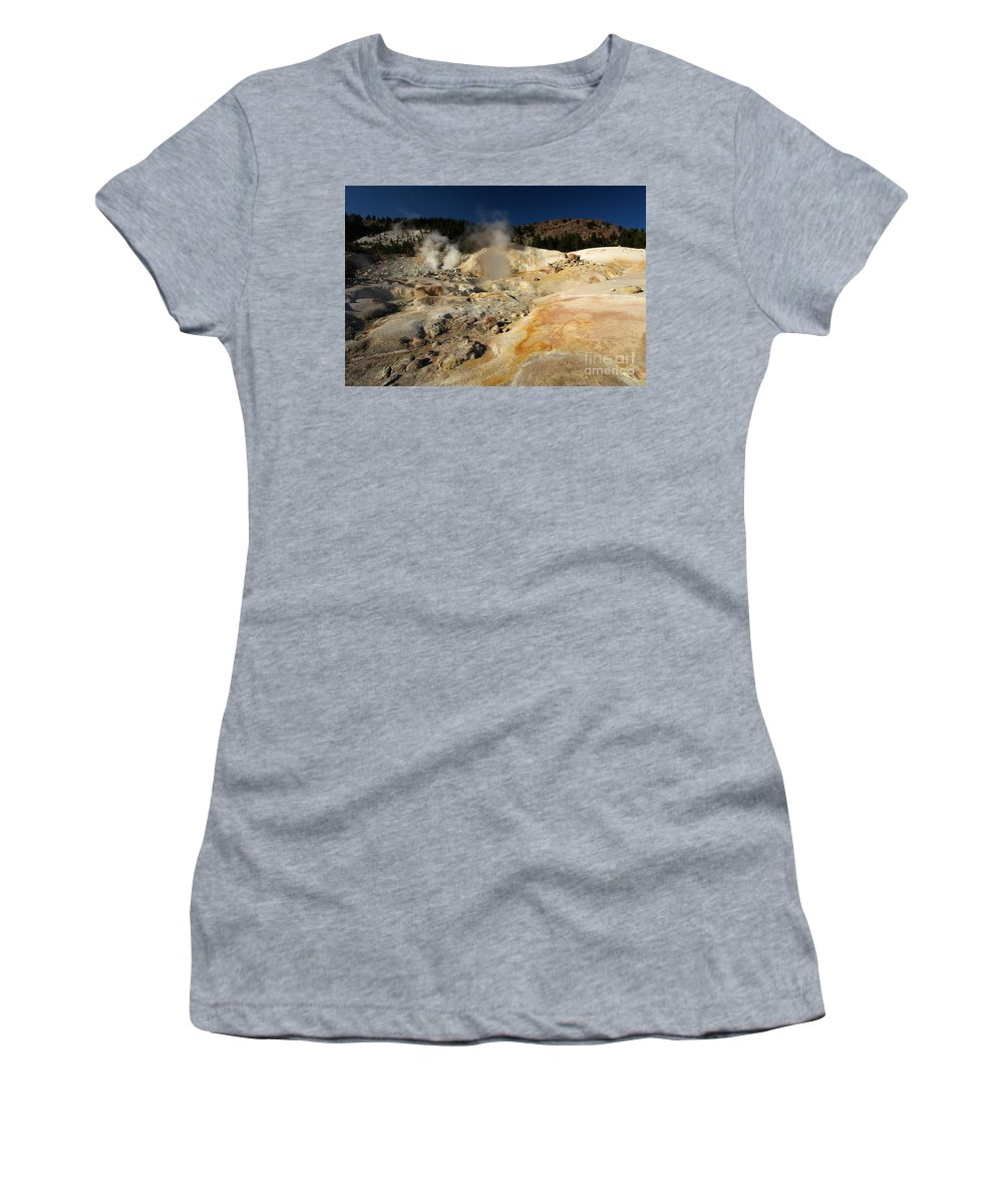 Lassen Volcanic National Park Women's T-Shirt (Athletic Fit) featuring the photograph Steaming Organge Crust by Adam Jewell