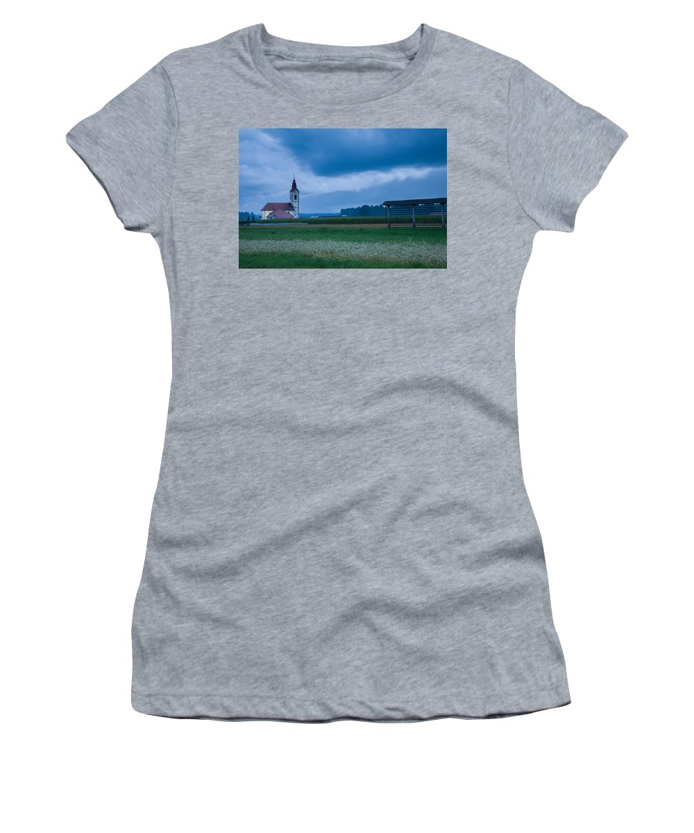 Dusk Women's T-Shirt (Athletic Fit) featuring the photograph Summer Blues by Ian Middleton