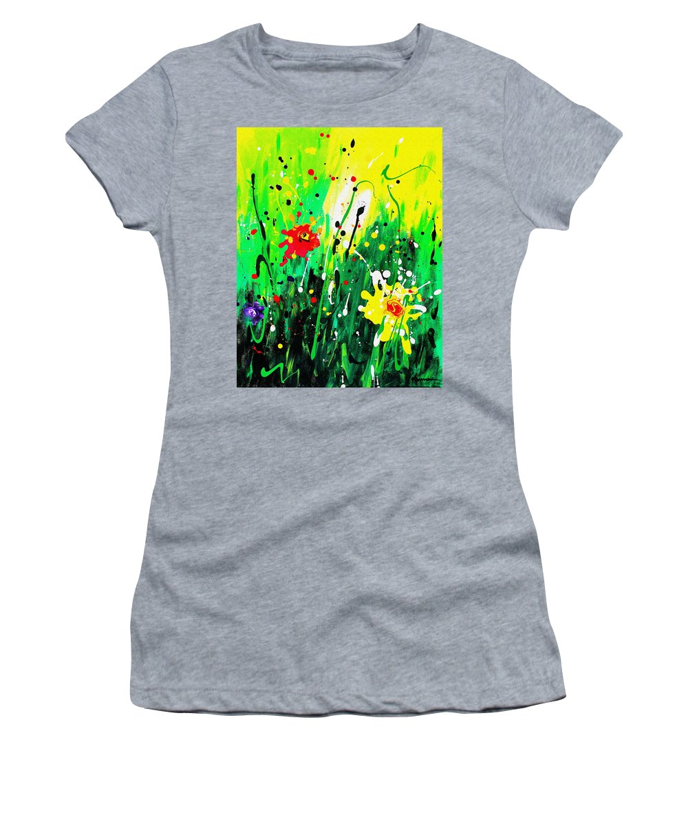 Garden Women's T-Shirt (Athletic Fit) featuring the painting Summer Garden by Kume Bryant