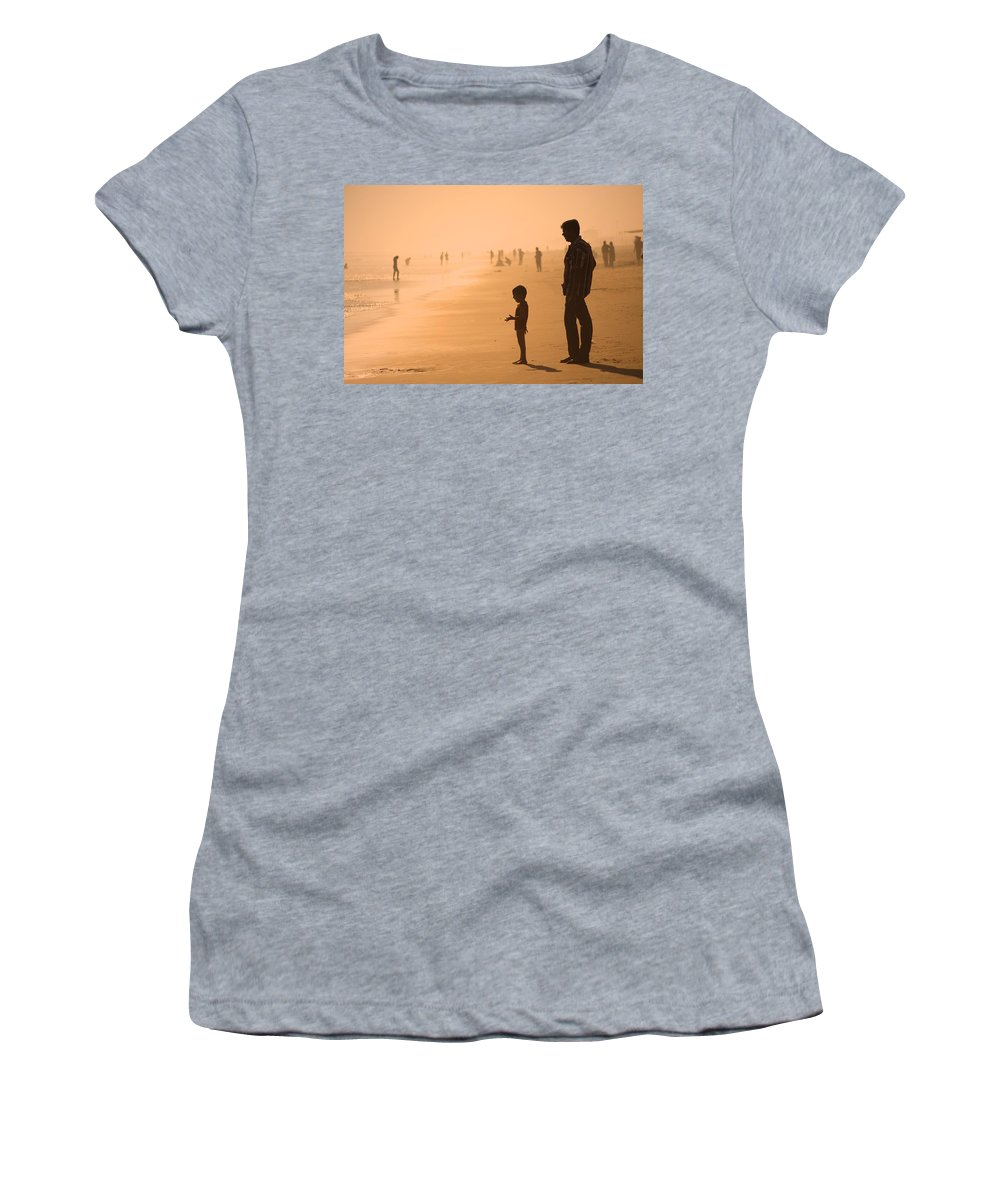People Women's T-Shirt (Athletic Fit) featuring the photograph Sundown By The Bay Of Bengal by Valerie Rosen