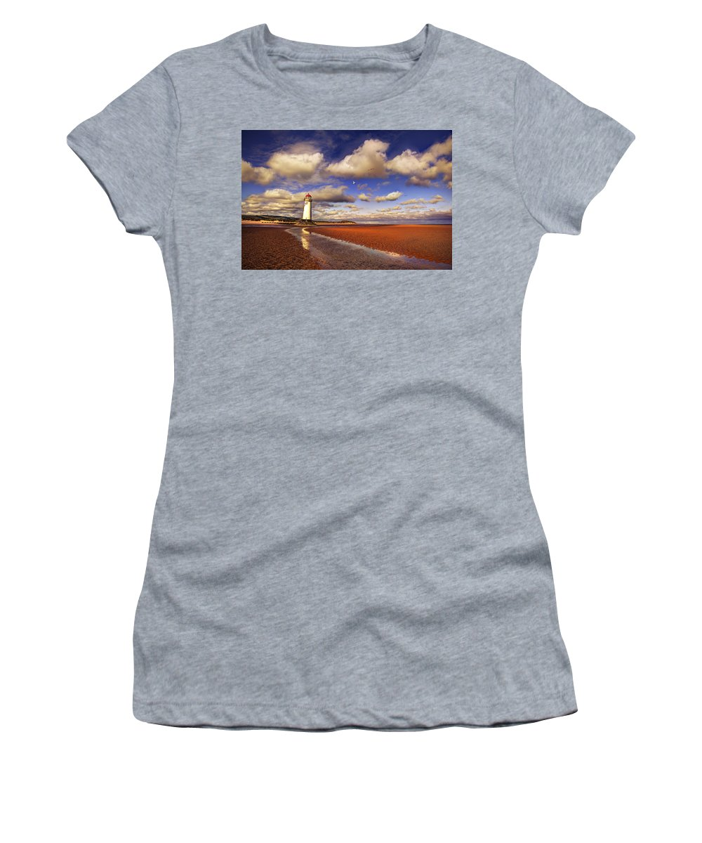 Lighthouse Women's T-Shirt (Athletic Fit) featuring the photograph Talacre Lighthouse by Mal Bray
