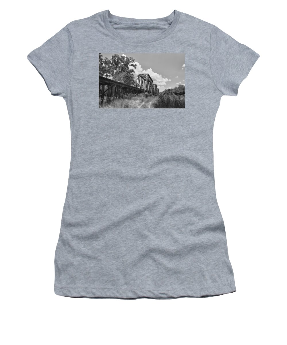 Bridges Women's T-Shirt (Athletic Fit) featuring the photograph Texas Railroad Bridge by Guy Whiteley