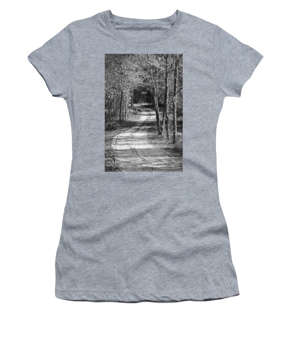 Back Woods Women's T-Shirt (Athletic Fit) featuring the photograph The Beaten Path by Carolyn Marshall