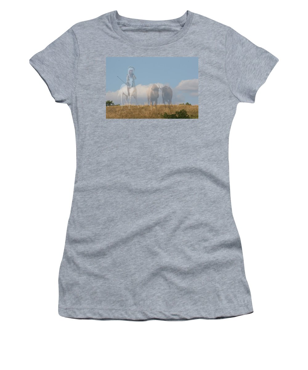 Sunset Native Aboriginal Artwork Buffalo Hunter Indian Brave Man Colourful Abstract Sunrise Sky Scenery Appaloosa Horse Art Grass Trees Saskatchewan Artist Women's T-Shirt (Athletic Fit) featuring the photograph The Hunter Of Buffalo by Andrea Lawrence
