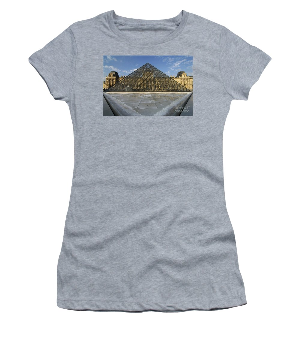 The Louvre Women's T-Shirt (Athletic Fit) featuring the photograph The Louvre Pyramid Paris by Mike Nellums