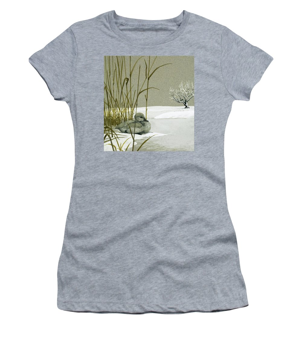 Animals; Nature; Wildlife; Ducks ;duckling; Swan Women's T-Shirt (Athletic Fit) featuring the painting The Ugly Duckling by English School