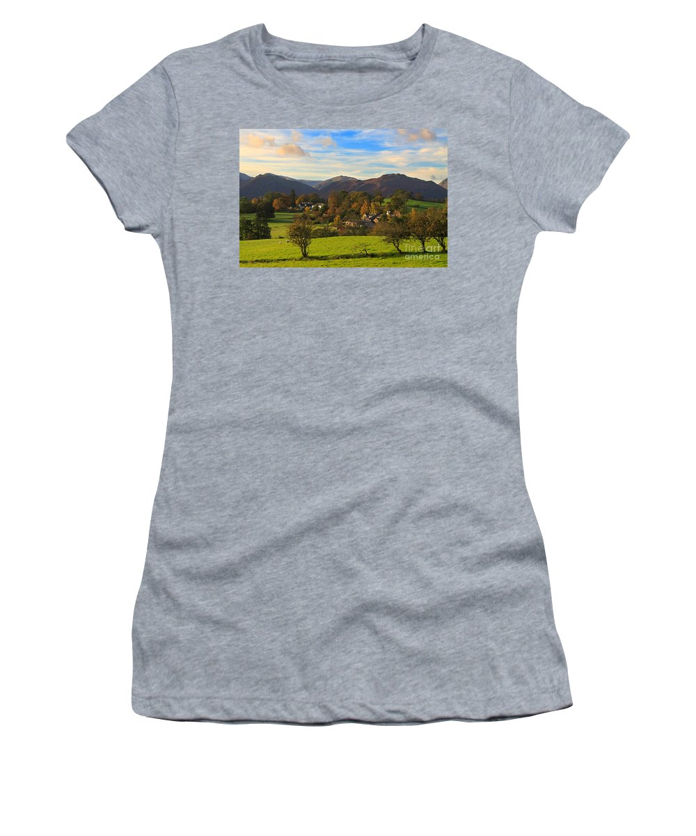 Watermillock Women's T-Shirt featuring the photograph The Village Of Watermillock In Cumbria Uk by Louise Heusinkveld