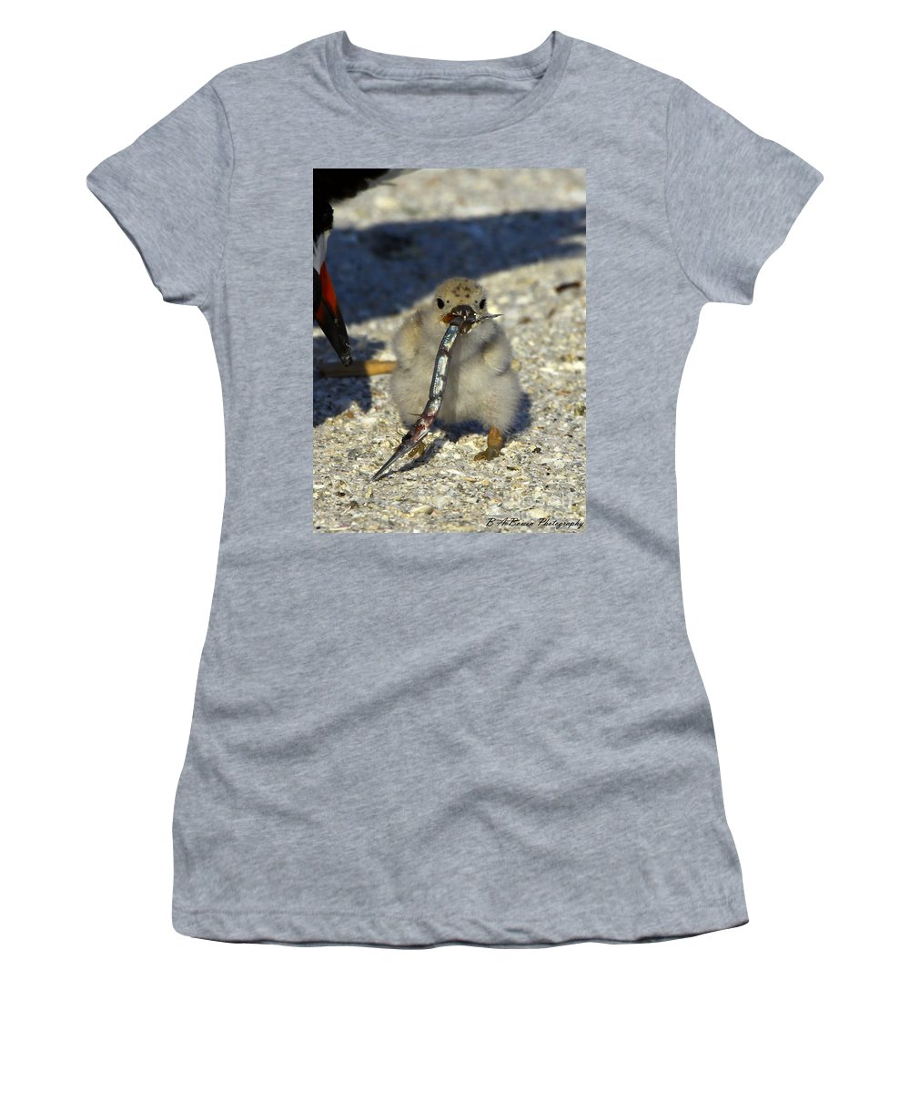 Black Skimmer Women's T-Shirt featuring the photograph This Fish Is Bigger Than Me by Barbara Bowen