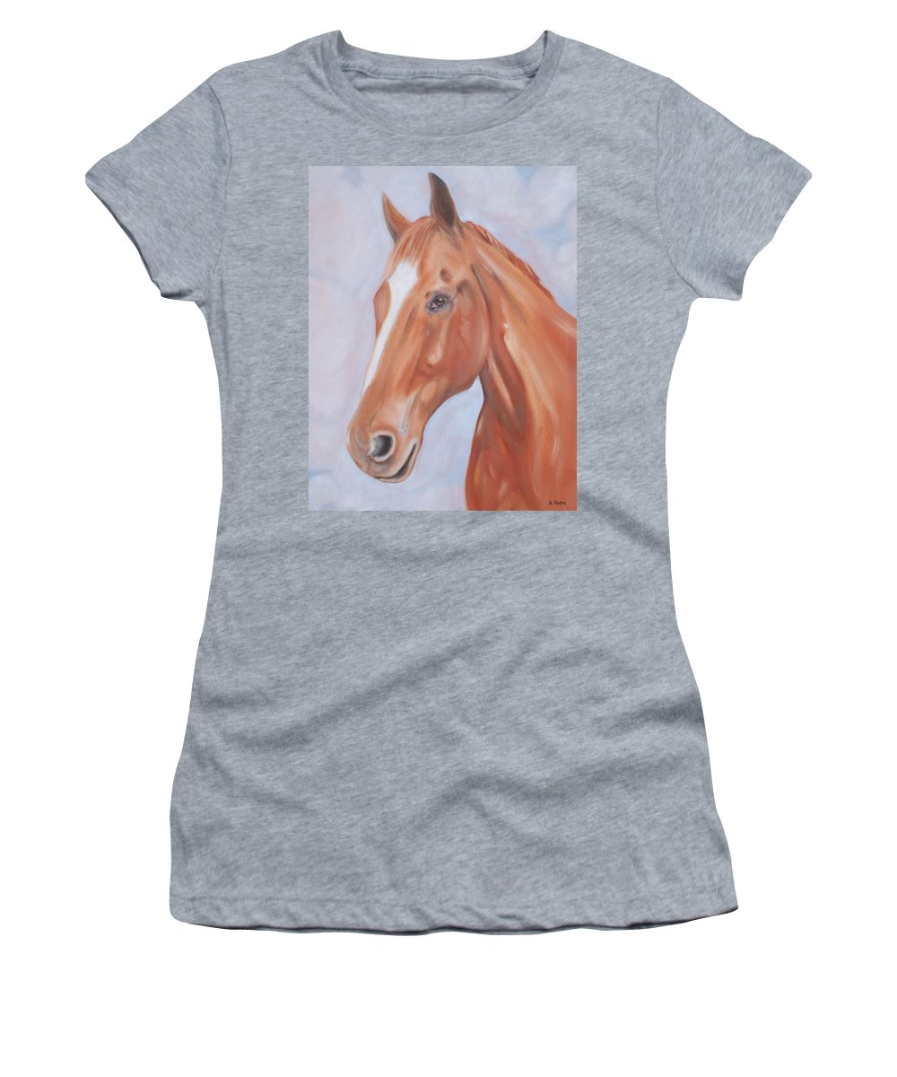 Thoroughbred Women's T-Shirt (Athletic Fit) featuring the painting Thoroughbred by George Pedro