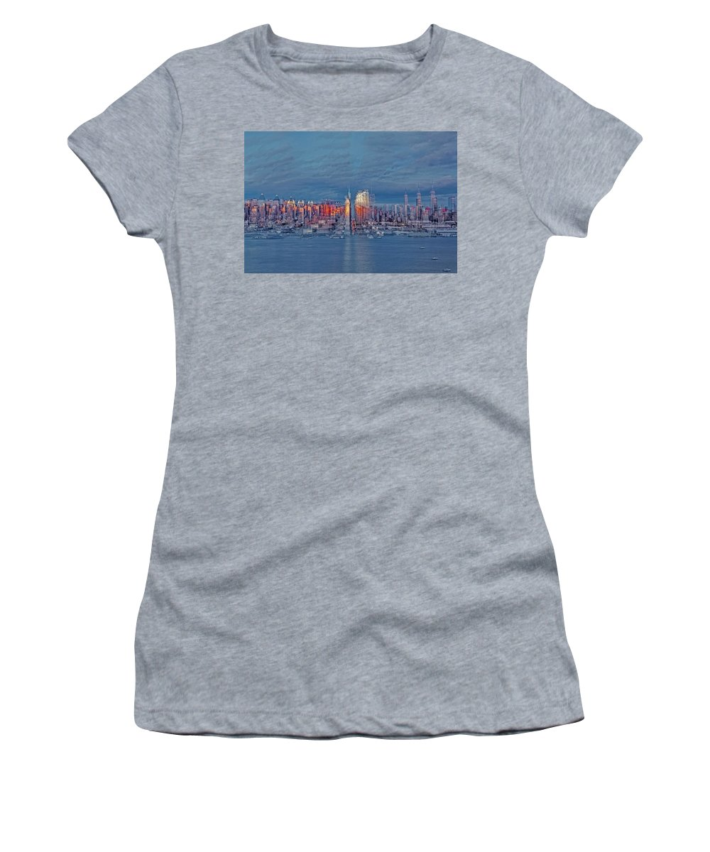 Nyc Women's T-Shirt (Athletic Fit) featuring the photograph Three Times New York City by Susan Candelario
