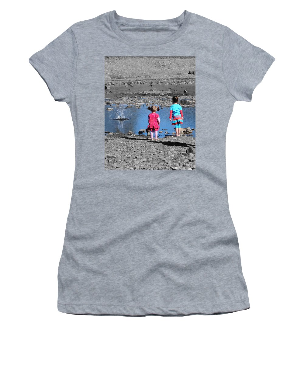 Children Women's T-Shirt (Athletic Fit) featuring the photograph Throwing Stones by Paul Ward