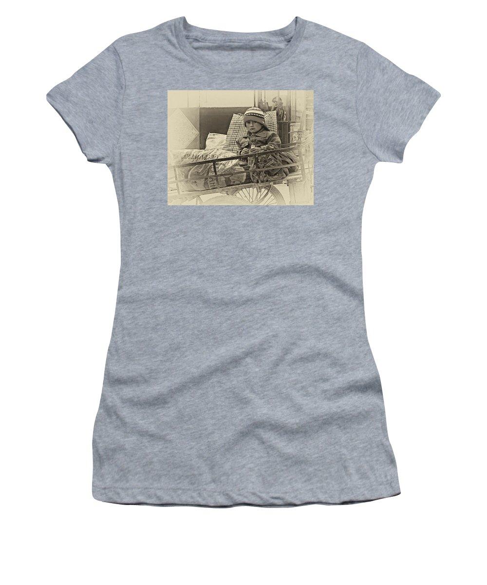 Peru Women's T-Shirt featuring the photograph Tiny Biker 2 Sepia by Steve Harrington