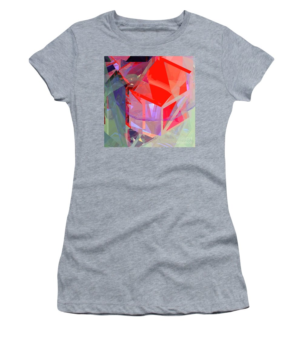 Abstract Women's T-Shirt (Athletic Fit) featuring the digital art Tower Poly 21 Tree House by Russell Kightley