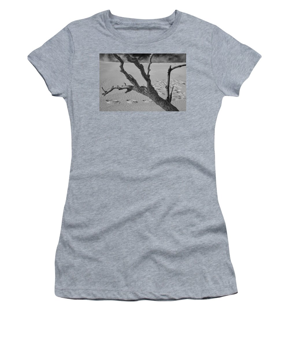 Art Women's T-Shirt featuring the photograph Tree Branch And Footprints On Sleeping Bear Dunes by Randall Nyhof