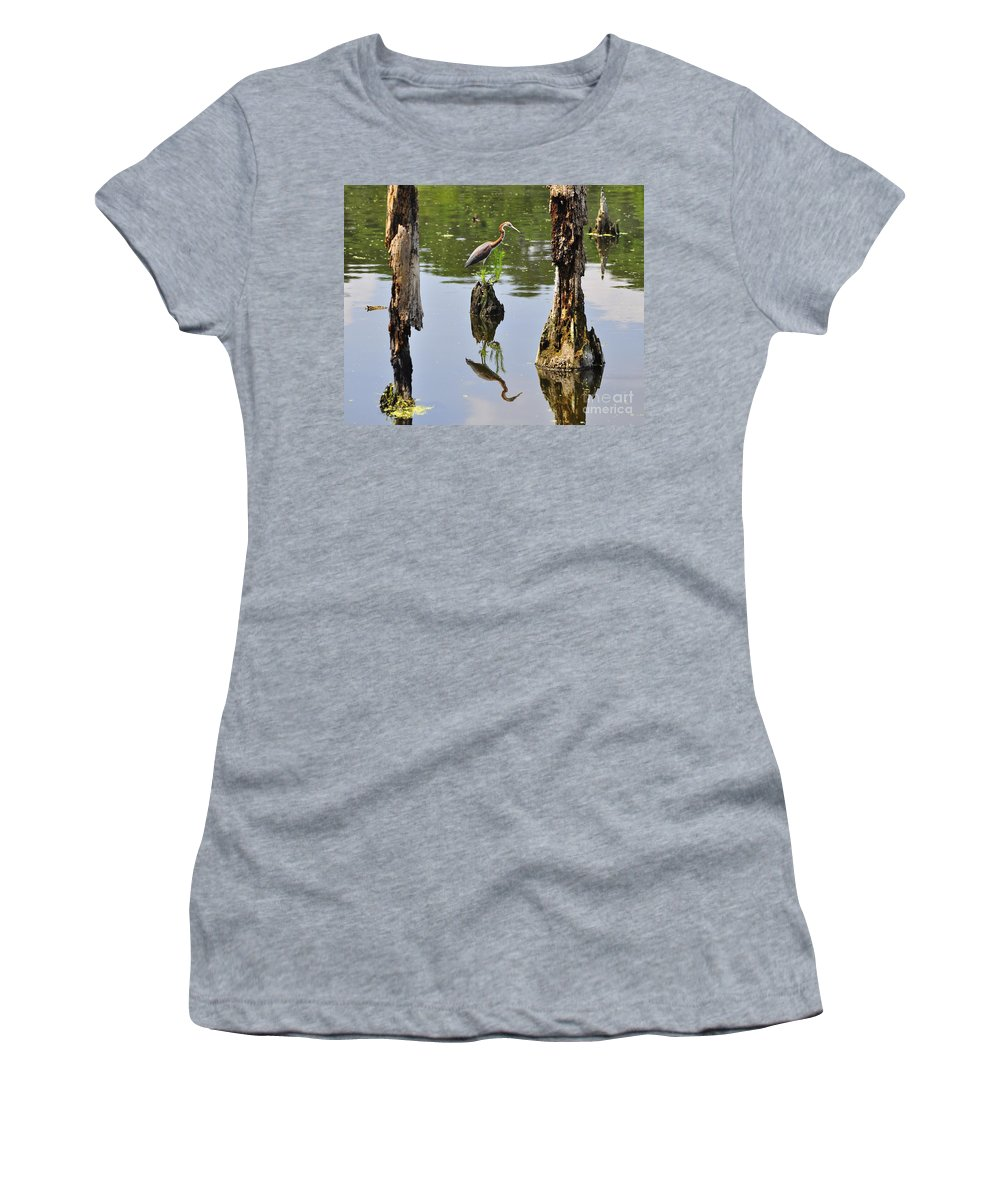 Heron Women's T-Shirt featuring the photograph Tricolored Reflection by Al Powell Photography USA
