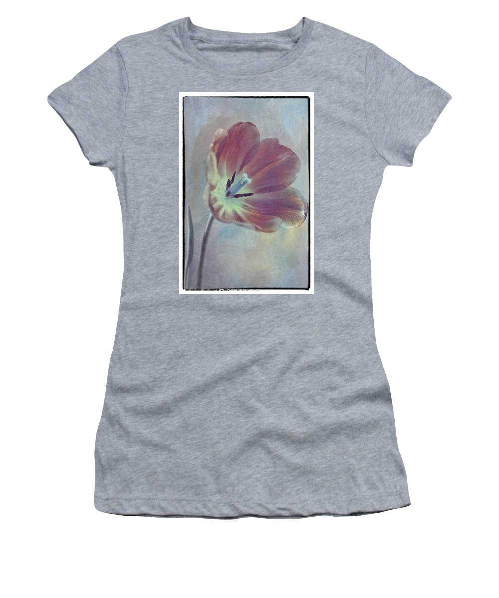 Florals Women's T-Shirt featuring the photograph Tulip Adventure by Linda Dunn