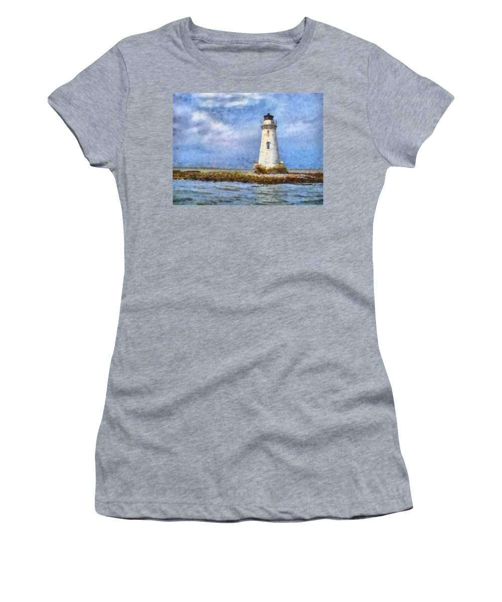 Lighthouse Women's T-Shirt (Athletic Fit) featuring the painting Tybee Island Lighthouse by Lynne Jenkins