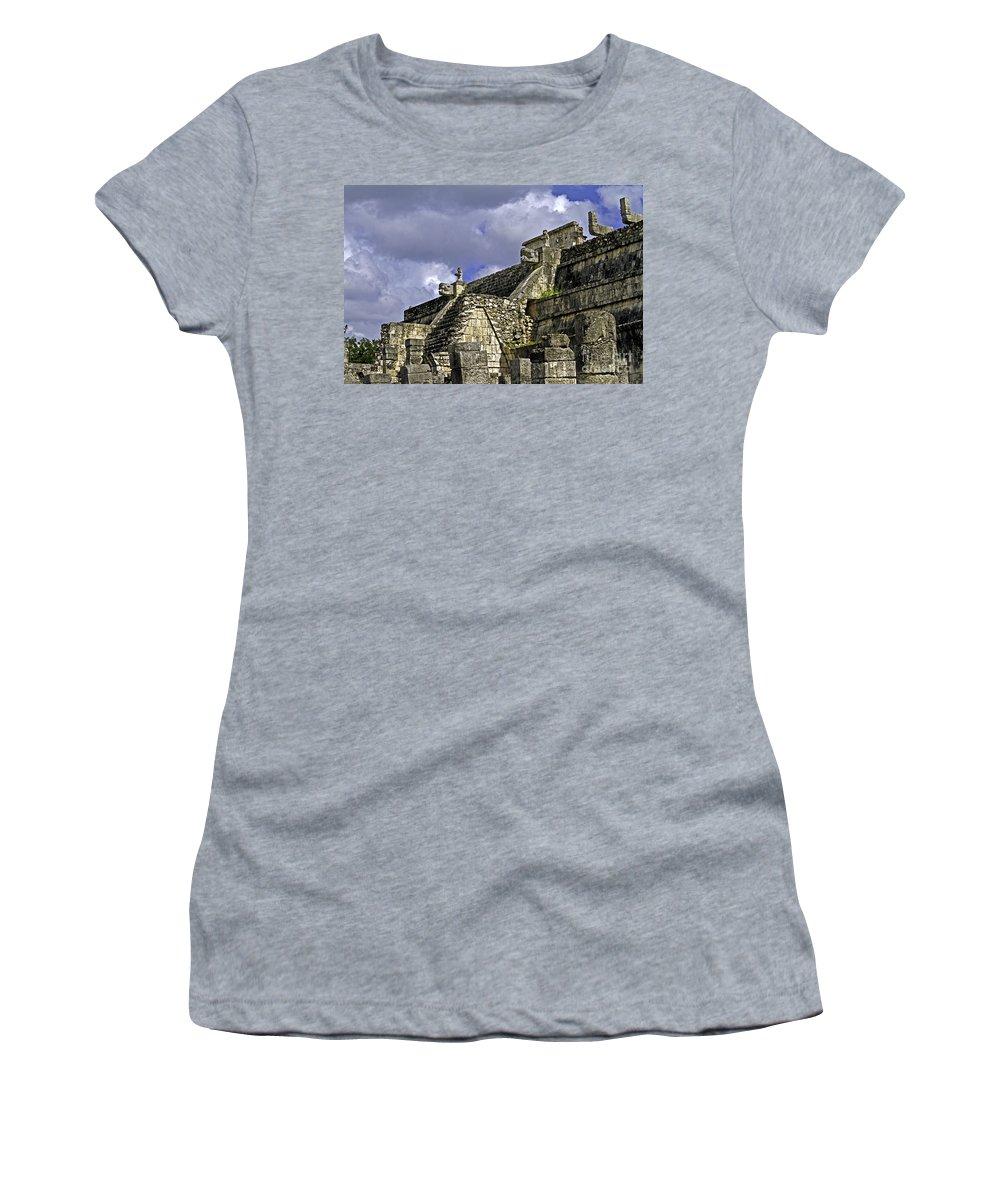 Chichen Itza Women's T-Shirt featuring the photograph Tzompantli by Ken Frischkorn
