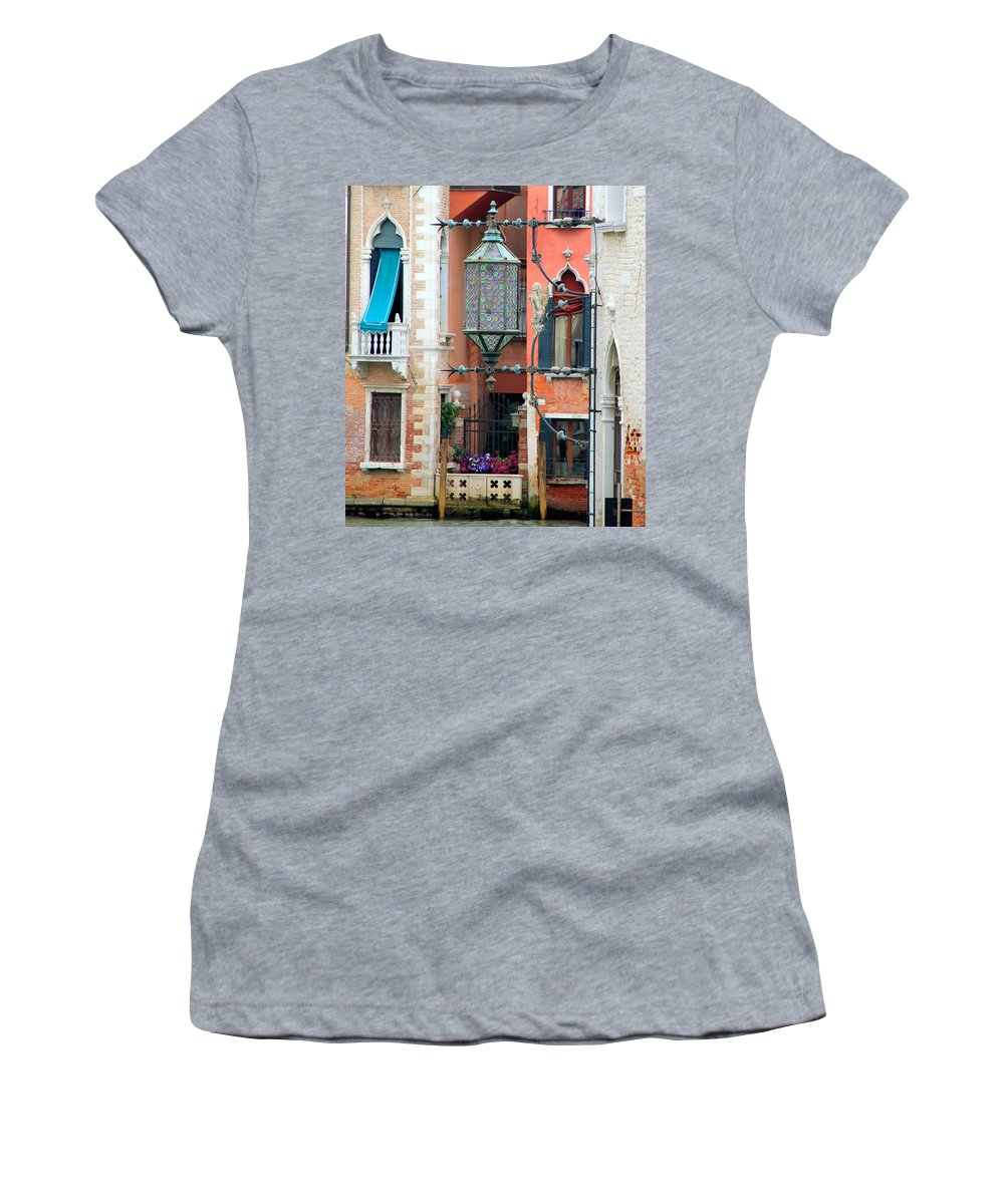 Venice Women's T-Shirt featuring the photograph Venice Lamp by Andrew Fare